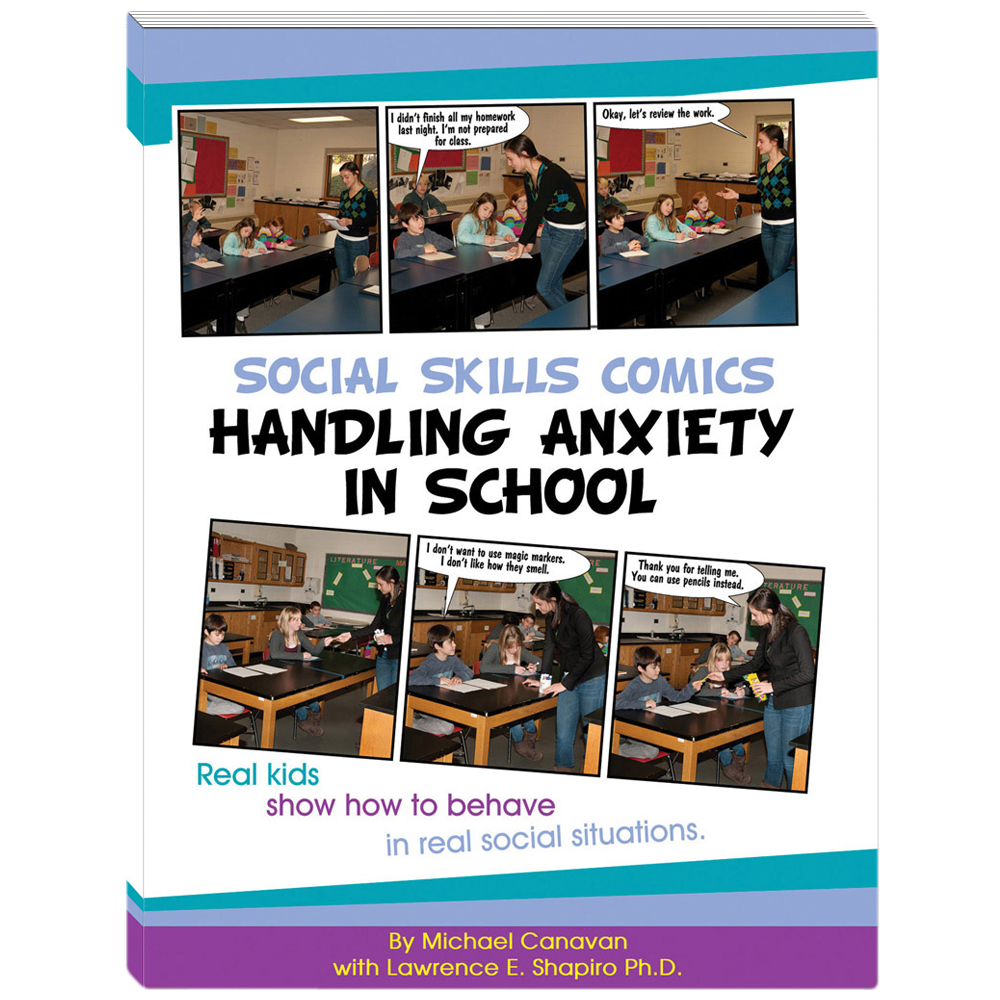 Social Skills Comics for Kids: Handling Anxiety in School Book w/CD