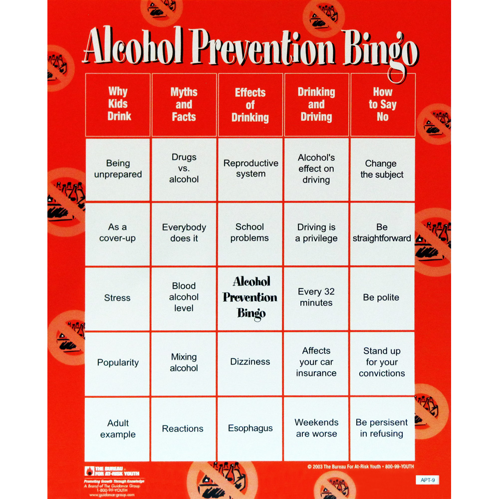 Alcohol Prevention Bingo Game