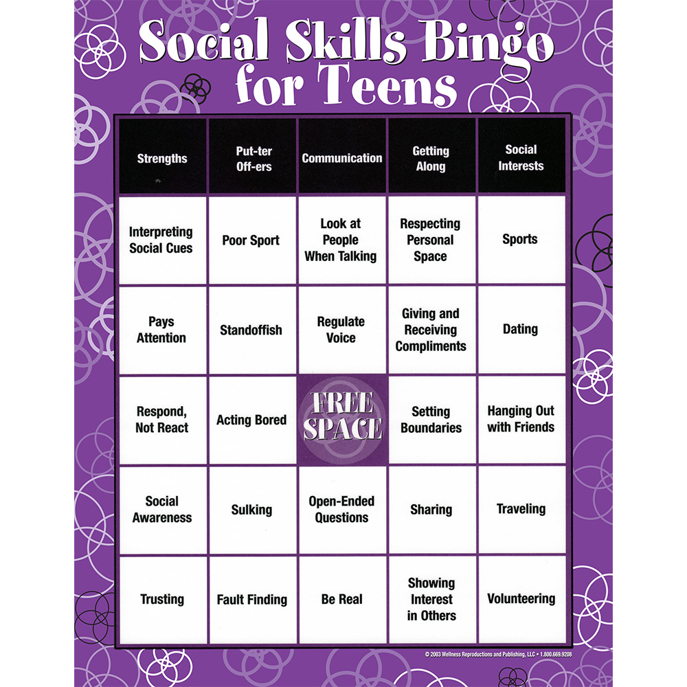 Social Skills|Characteristics|Communication|Teens|Bingo Game