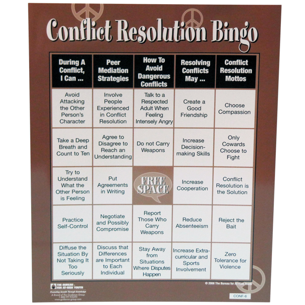 Conflict Resolution bingo game for kids