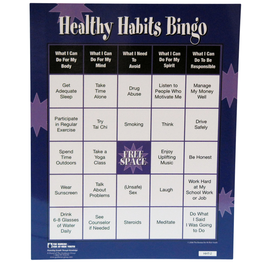 Courage To Change :: Topic :: Life Skills :: Healthy Habits Bingo Game