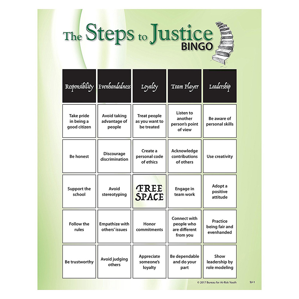 The Steps to Justice   Teen Bingo Game