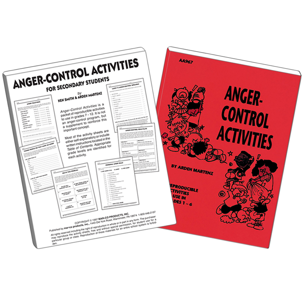 Anger Control Activities Set   Grades 1 to 6 and Grades 7 to 12