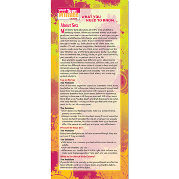 Smart Teen Minute Card: (50 Pack) What You Need to Know... About Sex and Sexuality