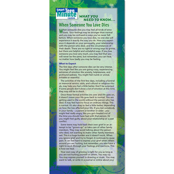 Smart Teen Minute Card: (50 Pack) What You Need to Know... When Someone You Love Dies